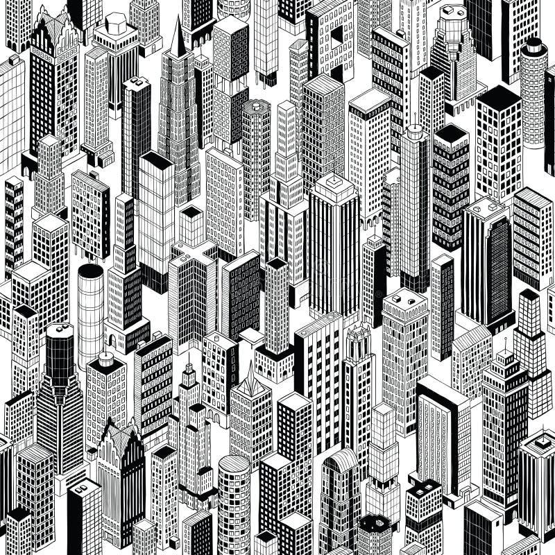 Картина города небоскреба равновеликая безшовная иллюстрация вектора