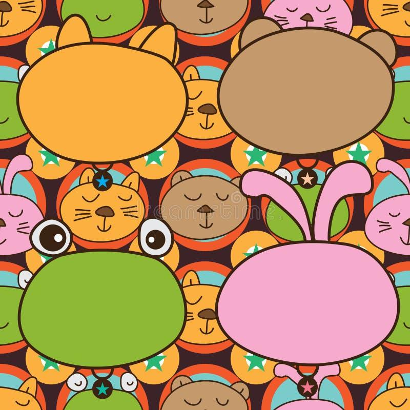 Картина головы кролика forg медведя кота безшовная иллюстрация штока