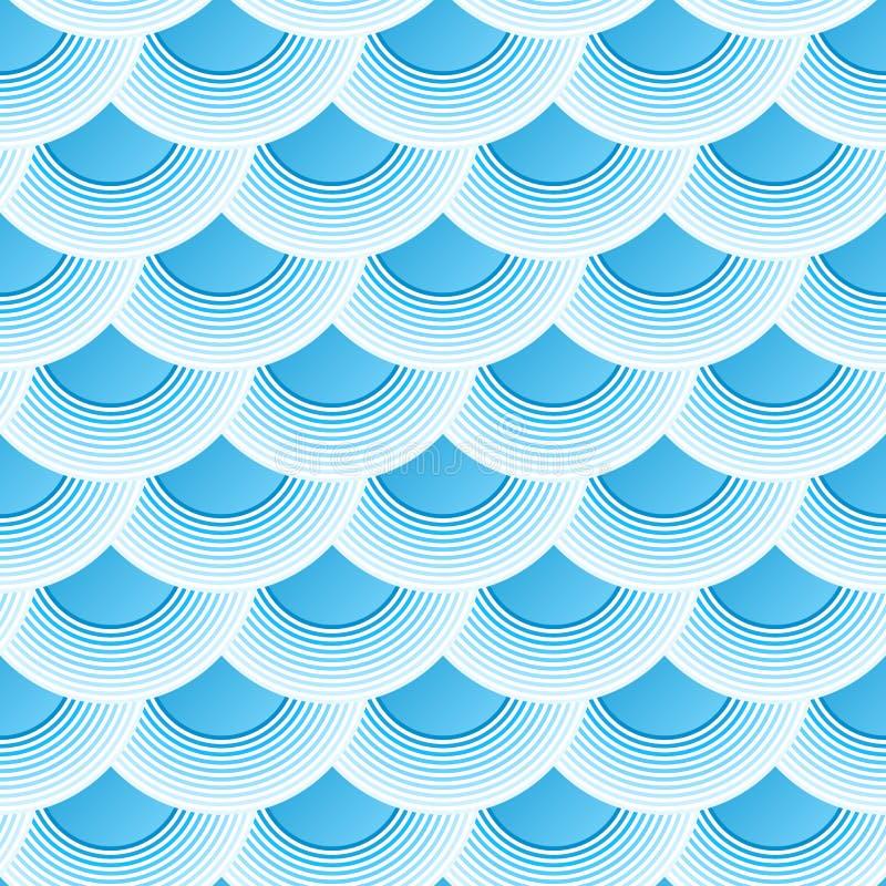 Картина голубого ретро вектора масштабов рыб безшовная иллюстрация штока