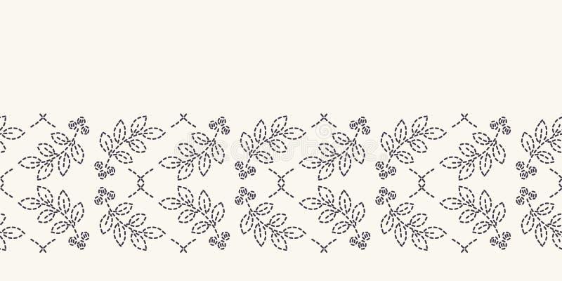 Картина границы вышивки идущим стежком лист Мозаика простой руки needlework вычерченная геометрическая флористическая Отделка лен иллюстрация вектора