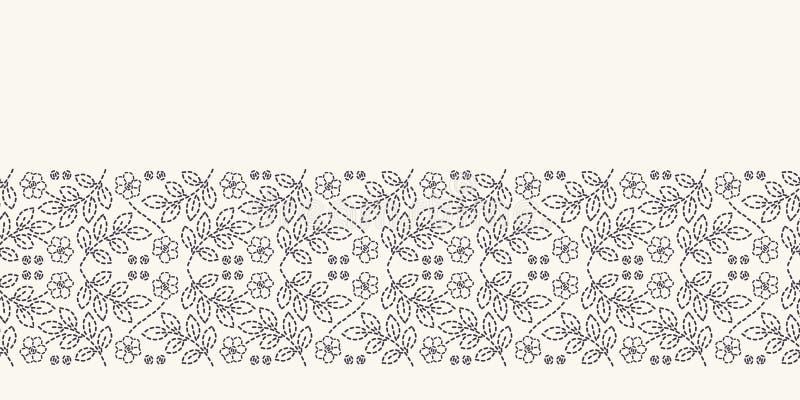 Картина границы вышивки идущим стежком лист Мозаика простой руки needlework вычерченная геометрическая флористическая Отделка лен бесплатная иллюстрация