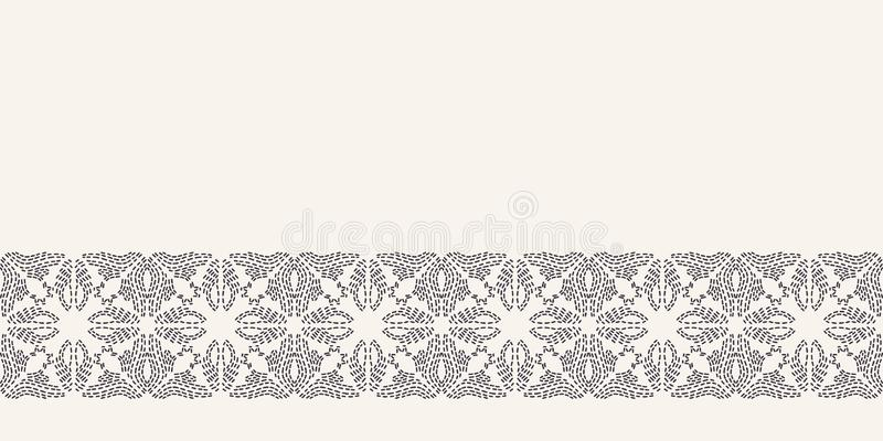Картина границы вышивки идущим стежком цветка Мозаика простой руки needlework вычерченная геометрическая флористическая Отделка л бесплатная иллюстрация
