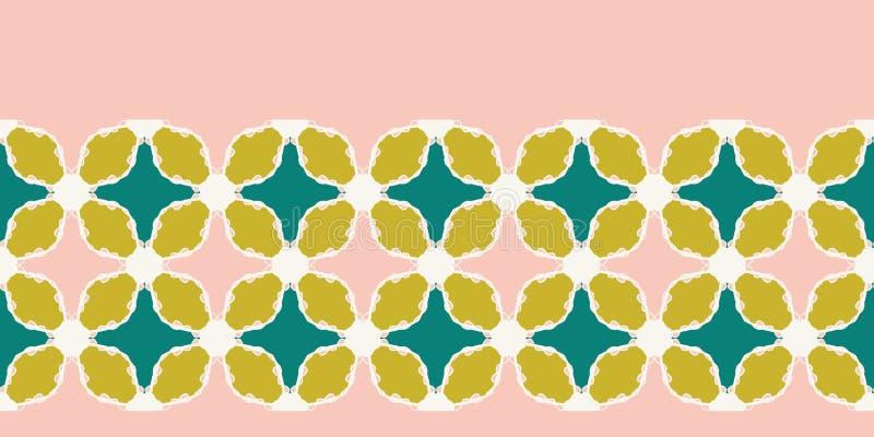 Картина границы лоскутного одеяла мозаики руки вычерченная племенная Предпосылка вектора безшовная Иллюстрация керамической плитк бесплатная иллюстрация