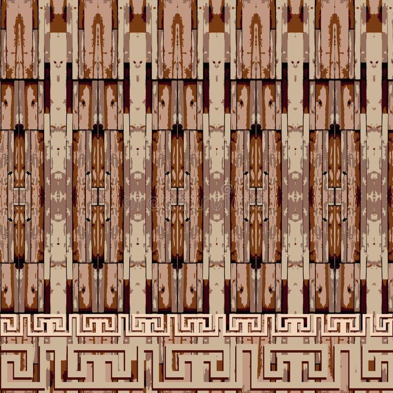 Картина границы племенного греческого вектора безшовная Текстурированное этническое происхождение деревянного стиля орнаментально иллюстрация штока