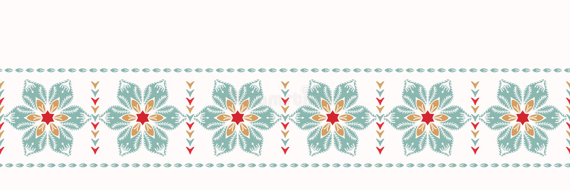 Картина границы цветка рождества руки вычерченная абстрактная Стилизованный poinsettia флористический на белой предпосылке Отделк иллюстрация штока