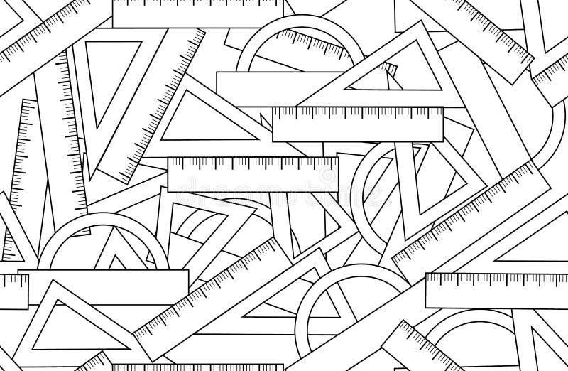 Картина графического вектора безшовная с аксессуарами набора школы: треугольники, транспортиры угла и правители иллюстрация вектора