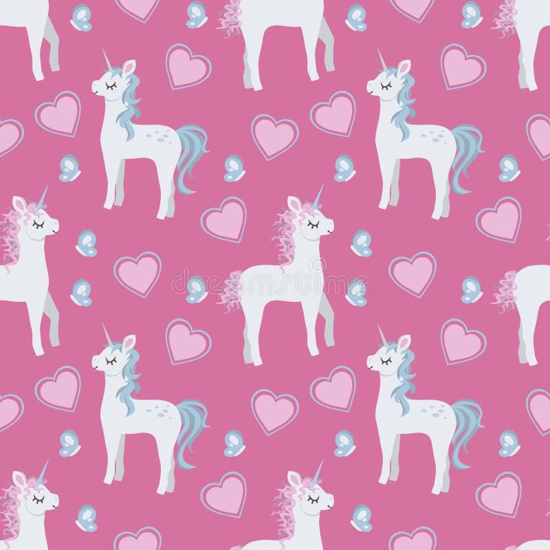 Картина графической иллюстрации стиля мультфильма безшовная с милыми единорогами, сердцами и бабочками стиля мультфильма на розов иллюстрация штока