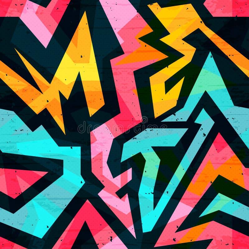 Картина граффити яркая психоделическая безшовная на черной иллюстрации вектора предпосылки иллюстрация вектора