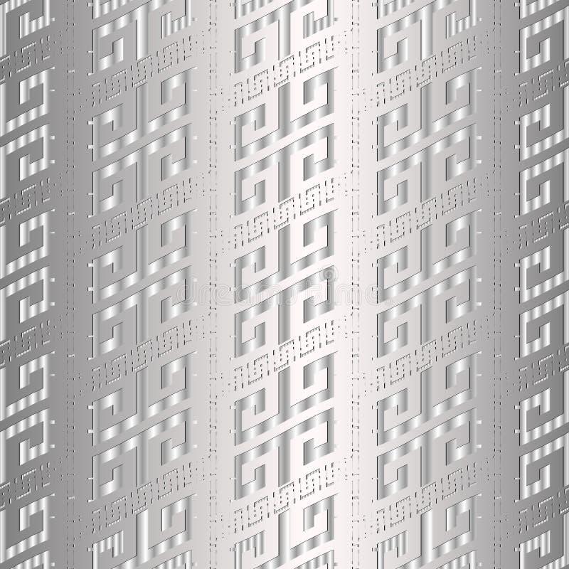 Картина греческого ключевого меандра серебра 3d безшовная Mono вектора современное бесплатная иллюстрация