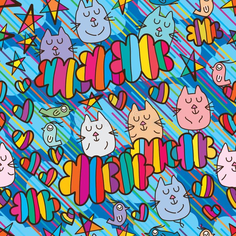 Картина группы кота красочная безшовная иллюстрация штока