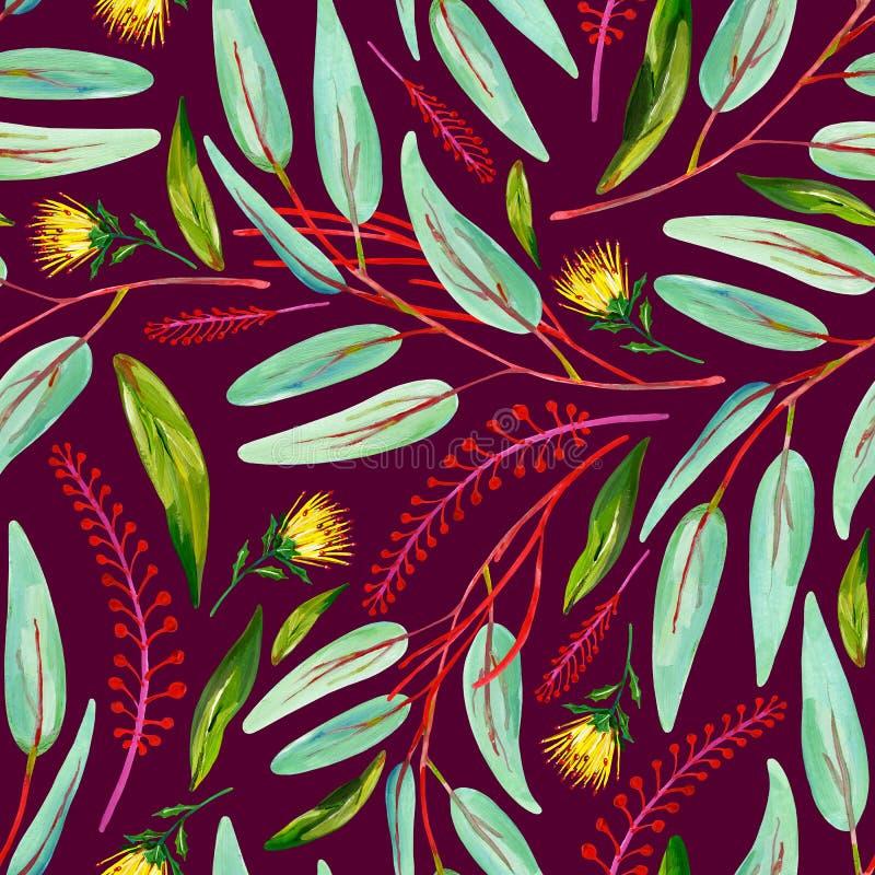 Картина гуаши безшовная с зелеными листьями, красными флористическими ветвями и желтым цветком на темной розовой предпосылке иллюстрация вектора