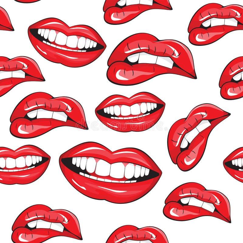 Картина губ безшовная иллюстрация вектора