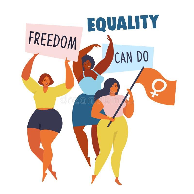 Картина движения полномочия женщин иллюстрация вектора