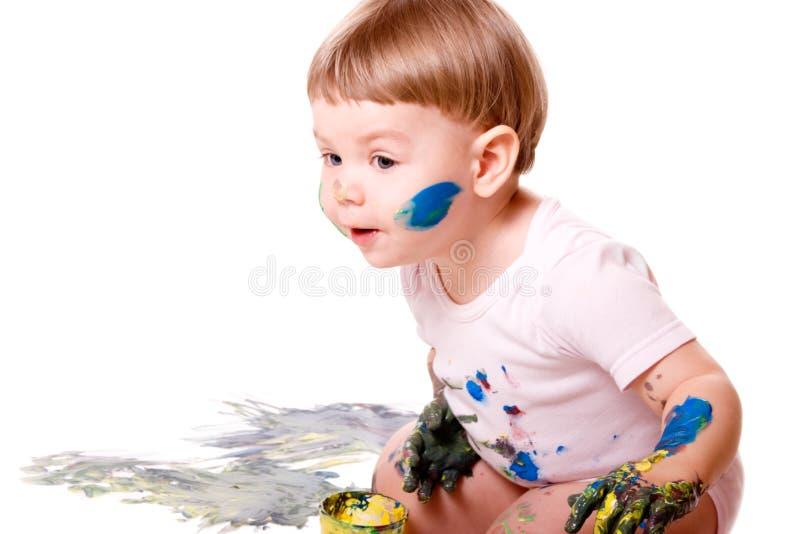 картина девушки младенца любознательная стоковые фото