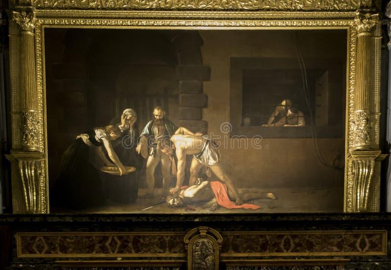 Картина декапитирования St. John баптист в соборе ` s St. John в Валлетте, Мальте стоковое изображение