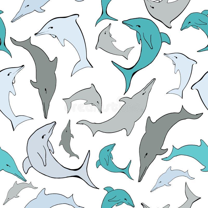 Картина дельфинов моря вектора безшовная бесплатная иллюстрация