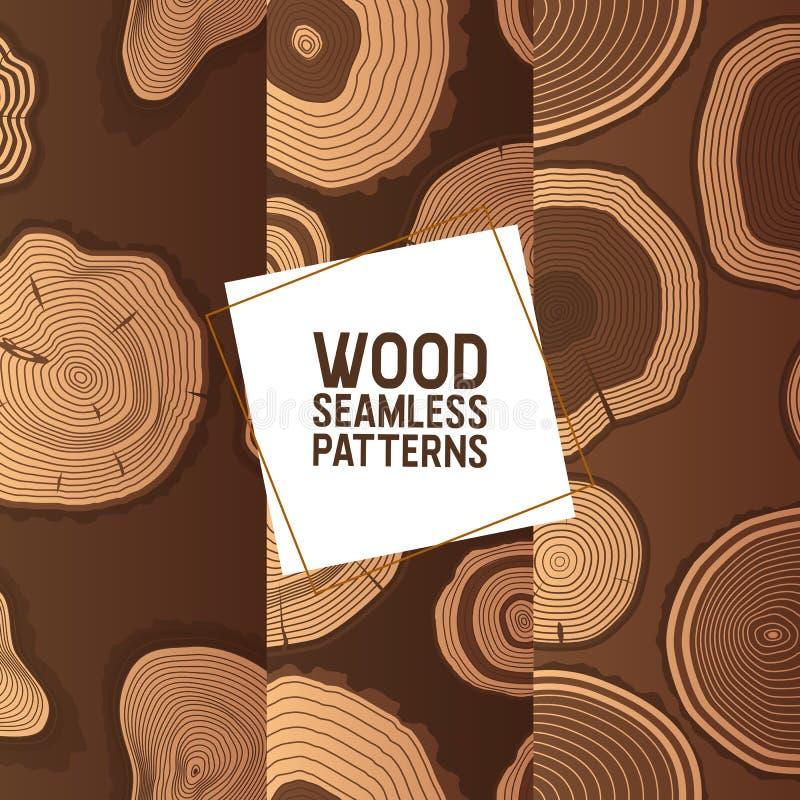 Картина деревянного вектора безшовная деревянный круг звенит журнал  иллюстрация штока