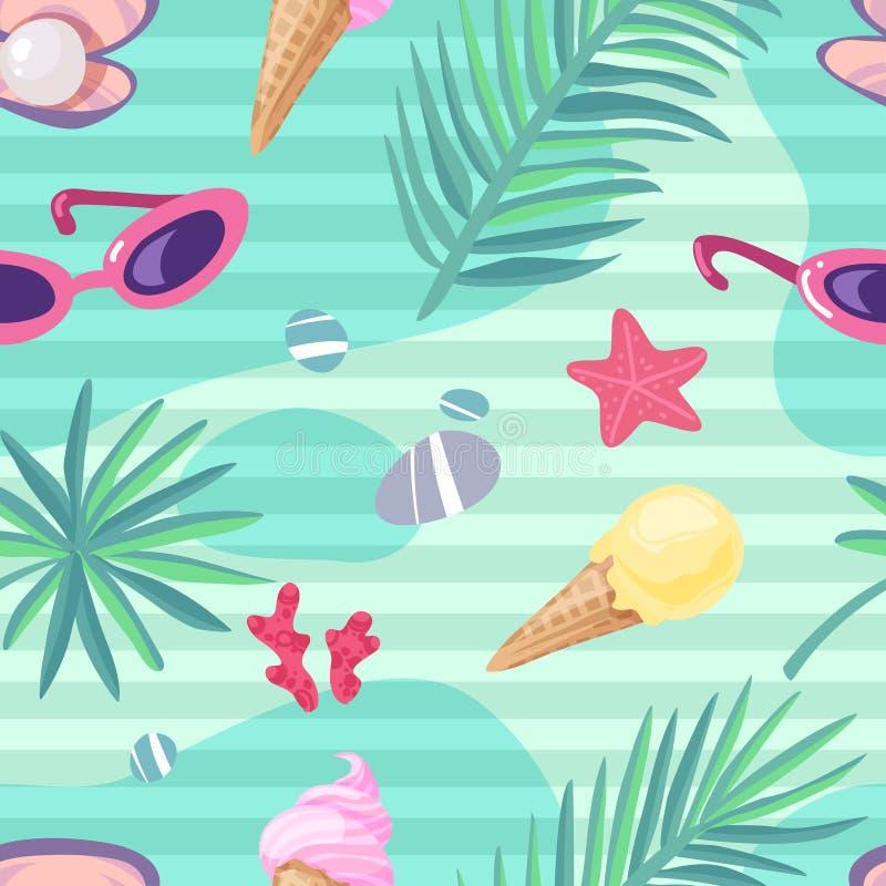 Картина деталей летнего отпуска безшовная бесплатная иллюстрация