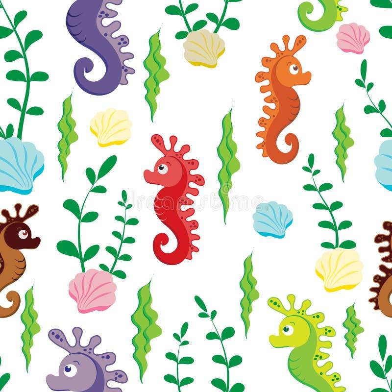Картина детей безшовная красочных диаграмм морского конька и зеленых водорослей на белой предпосылке иллюстрация вектора
