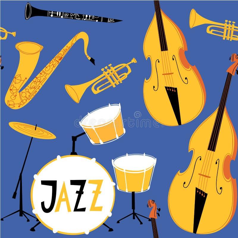 Картина джаза вектора безшовная с музыкальными инструментами иллюстрация штока