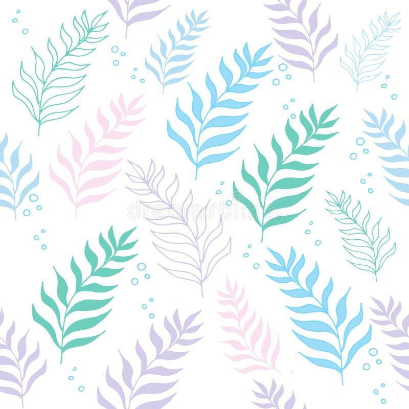 Картина джунглей пастельного цвета безшовная тропическая экзотическая на белой предпосылке бесплатная иллюстрация