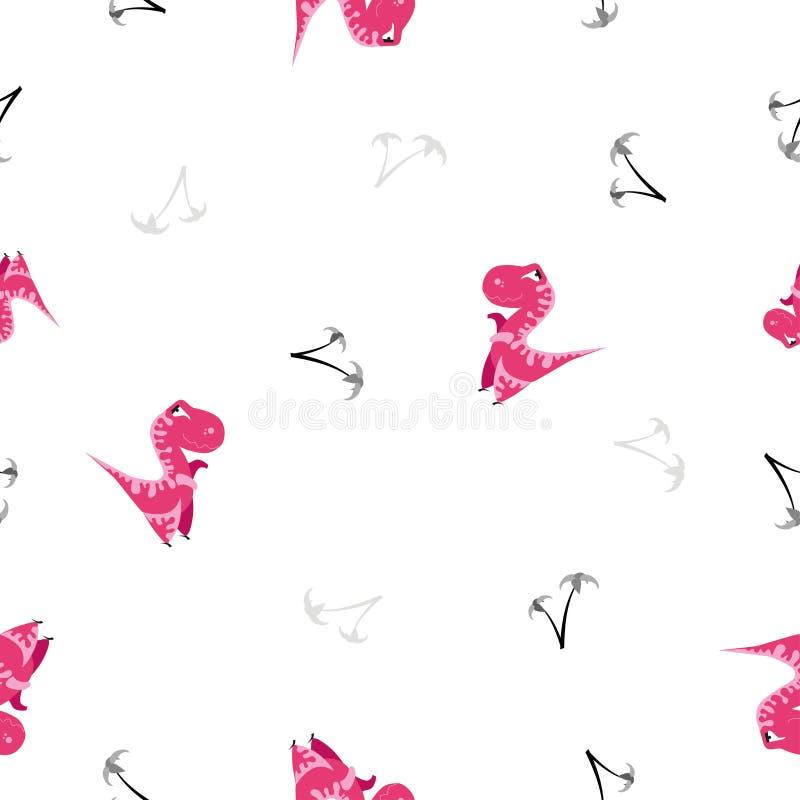 картина динозавра безшовная Животная белая предпосылка с розовым dino также вектор иллюстрации притяжки corel бесплатная иллюстрация