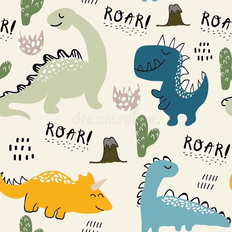 Картина для одежд моды, ткань ребяческого динозавра безшовная, футболки Вектор нарисованный рукой с литерностью бесплатная иллюстрация