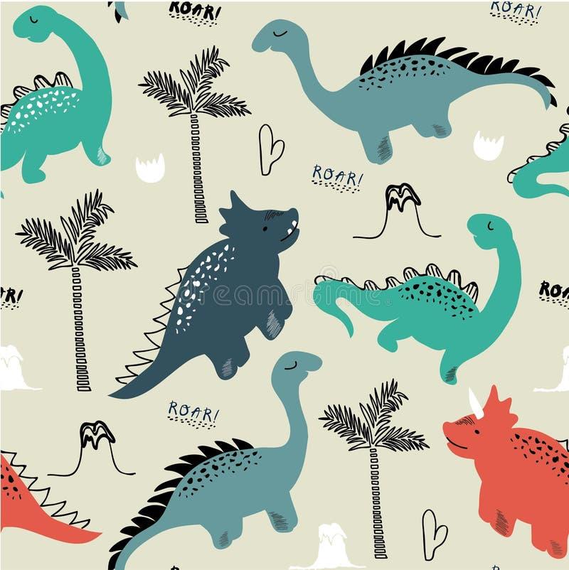 Картина для одежд моды, ткань ребяческого динозавра безшовная, футболки Вектор нарисованный рукой с литерностью иллюстрация вектора
