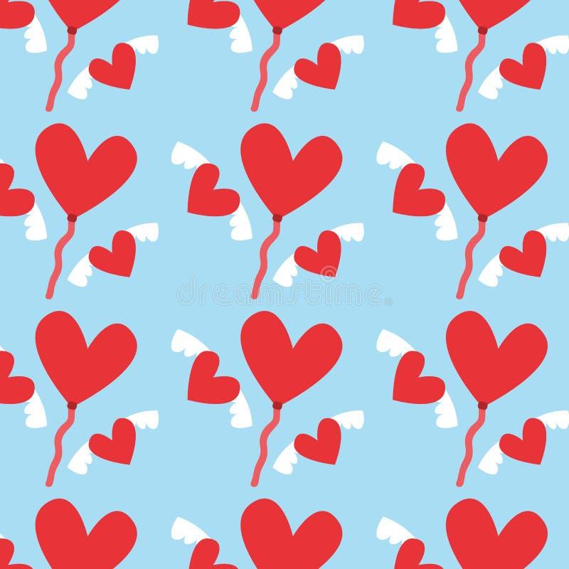Картина дня валентинок Подогнали красные сердца с красными воздушными шарами сердца иллюстрация дизайна вектора иллюстрация штока