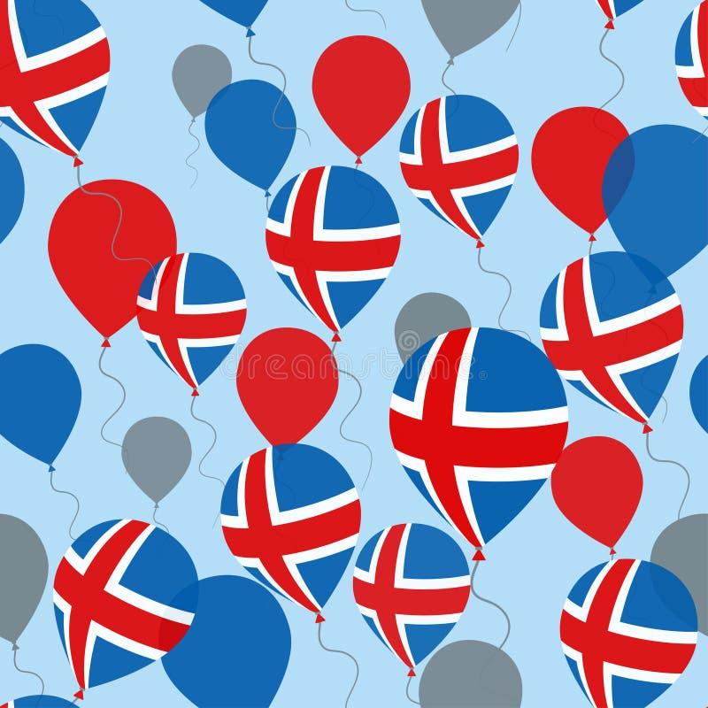 Картина Дня независимости Исландии безшовная Плоские воздушные шары летая в национальных цветах Исландии стоковые изображения