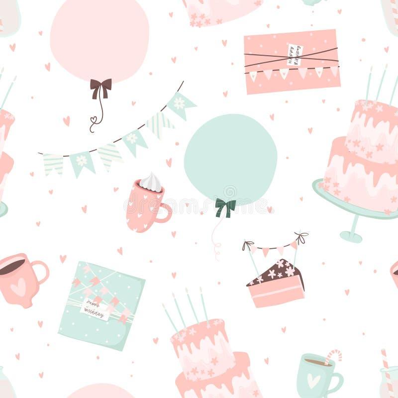 картина дня рождения счастливая Вручите вычерченную романтичную безшовную картину с милыми знаками и символами дня рождения иллюстрация штока