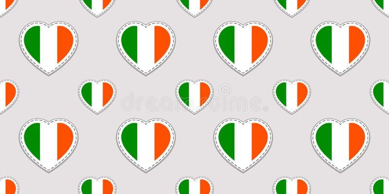 Картина дня ` s St. Patrick вектора безшовная Предпосылка с стикерами национальных флагов Ирландии Традиционные цвета Ирландское  иллюстрация штока