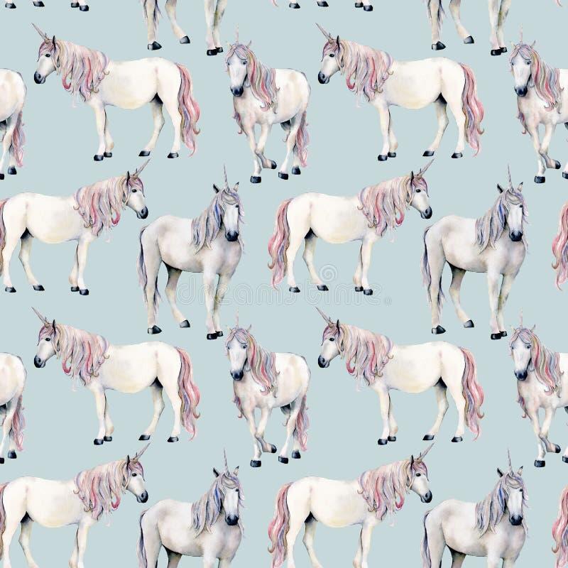 Картина единорога акварели безшовная Вручите покрашенной сказке белых лошадей изолированных на предпосылке plue Волшебные обои стоковое фото rf
