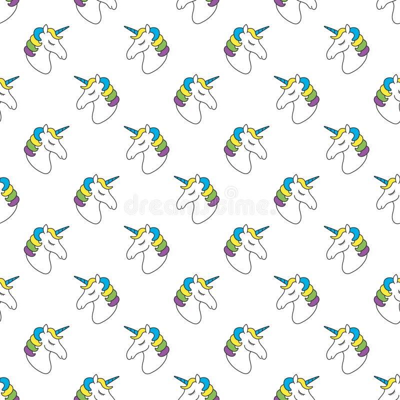 Картина единорога безшовная Ребяческая картина для ткани, футболки, scrapbook Милая предпосылка с единорогами иллюстрация вектора