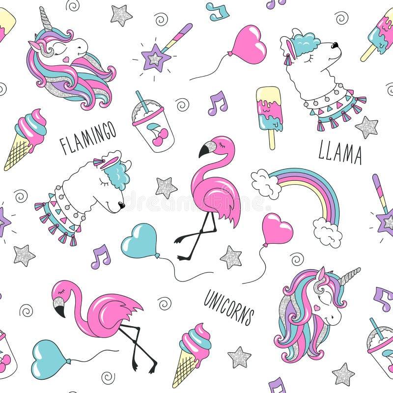 Картина единорога, ламы и фламинго на белой предпосылке ультрамодное картины безшовное Чертеж иллюстрации моды в современном стил иллюстрация вектора