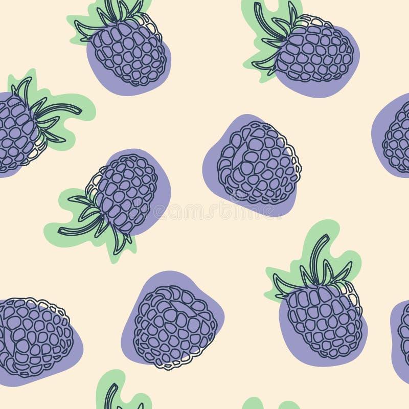 Картина ежевики безшовная Выгравированные одичалые ягоды с листьями Нарисованная вручную иллюстрация на белой предпосылке иллюстрация вектора