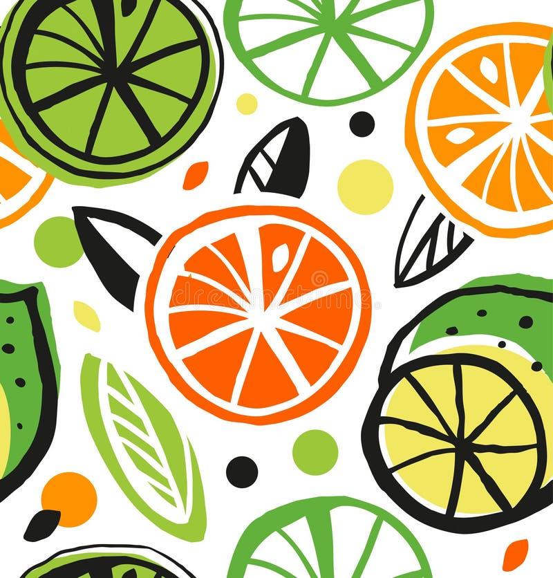 Картина декоративного чертежа безшовная с цитрусовыми фруктами бесплатная иллюстрация