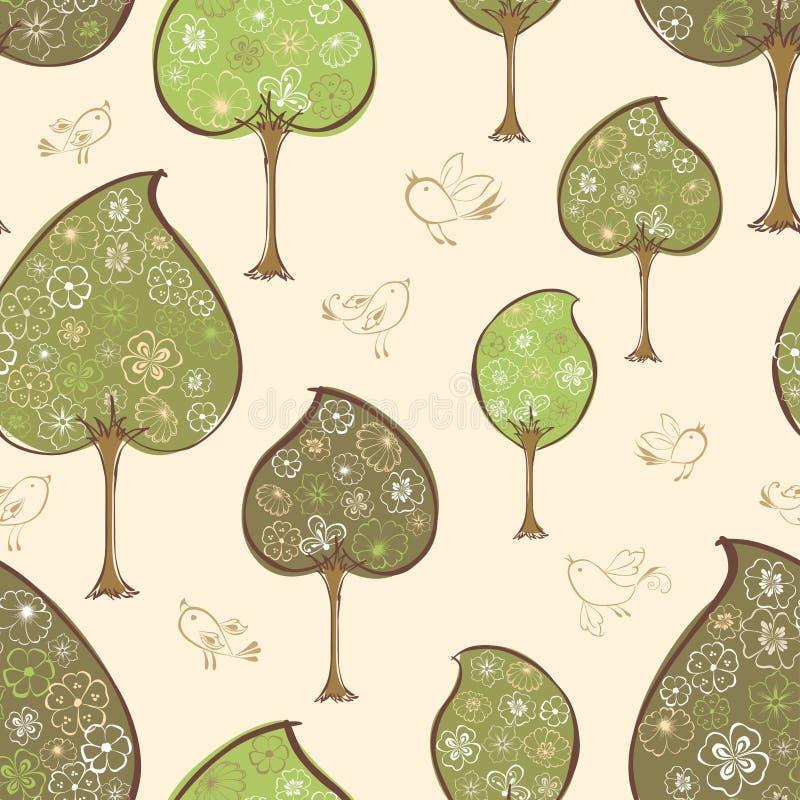 Картина декоративных деревьев иллюстрация вектора