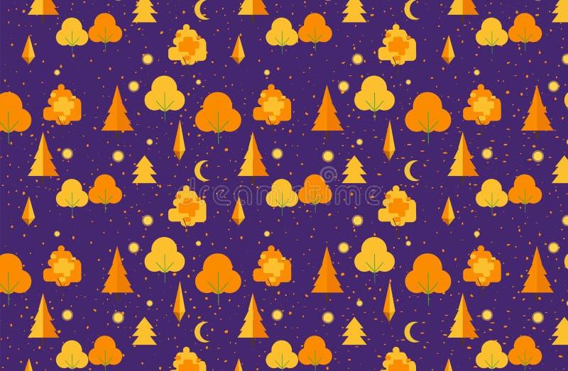 Картина дерева осени безшовная Предпосылка темы падения в плоском стиле также вектор иллюстрации притяжки corel бесплатная иллюстрация