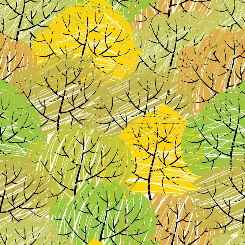 Картина деревьев вектора безшовная (абстрактный зеленый цвет иллюстрация вектора