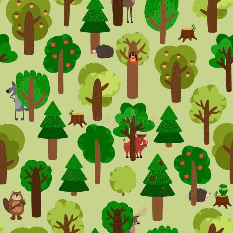 Картина леса безшовная с деревьями и животными иллюстрация вектора