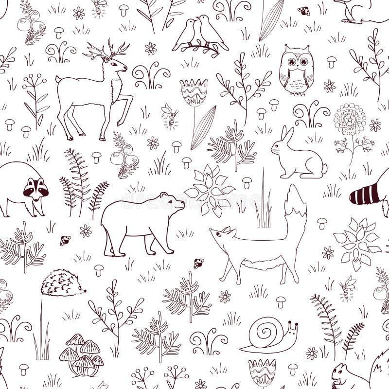 Картина леса безшовная с милым медведем, лисой, ежом, птицами, пчелами, бабочками, грибами, сычом, улиткой, оленем, слышит, и иллюстрация штока