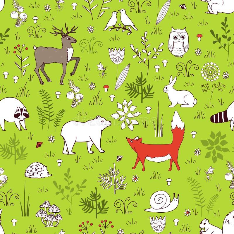 Картина леса безшовная с милым медведем, лисой, ежом, птицами, пчелами, бабочками, грибами, сычом, улиткой, оленем, слышит, и бесплатная иллюстрация