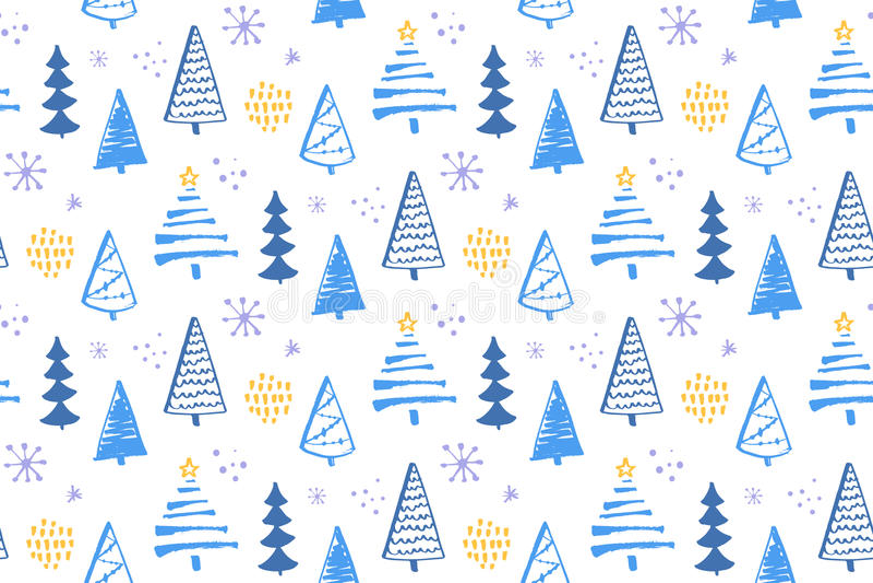 Картина леса зимы безшовная с рождественскими елками нарисованными рукой Предпосылка вектора для упаковочной бумаги и рождества бесплатная иллюстрация