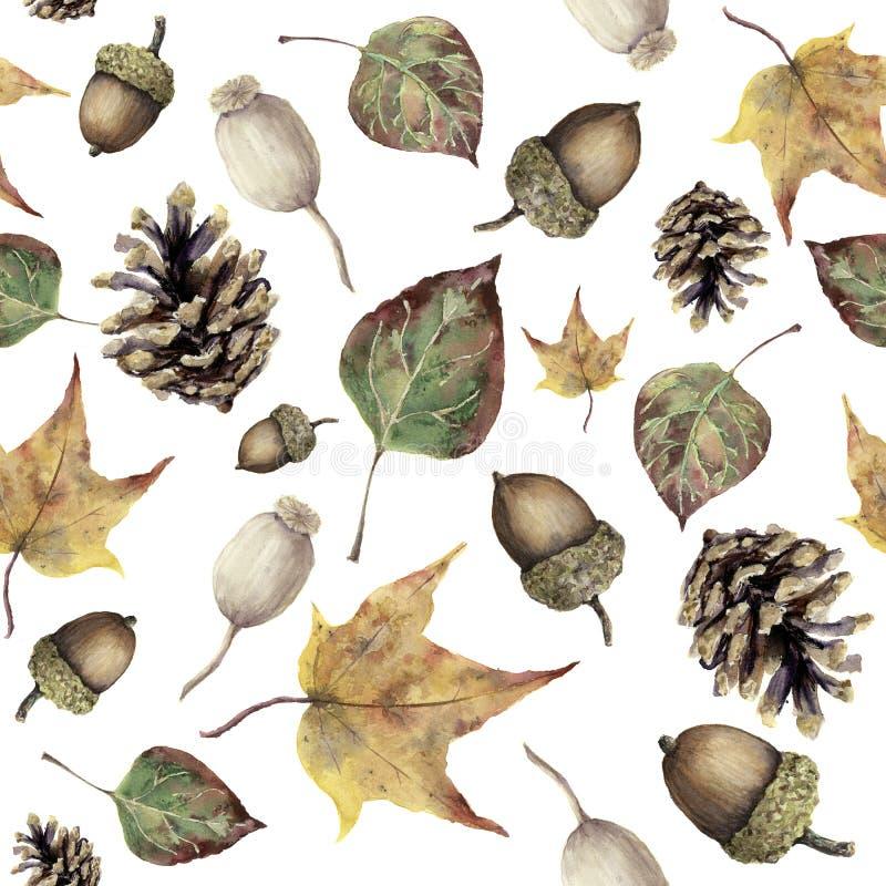 Картина леса осени акварели безшовная Вручите покрашенные конус сосны, жолудь, ягоду и желтый цвет и листья падения зеленого цвет иллюстрация штока