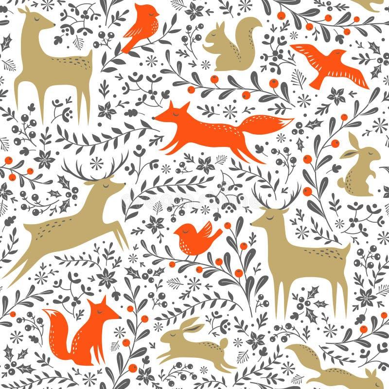 Картина леса рождества иллюстрация вектора