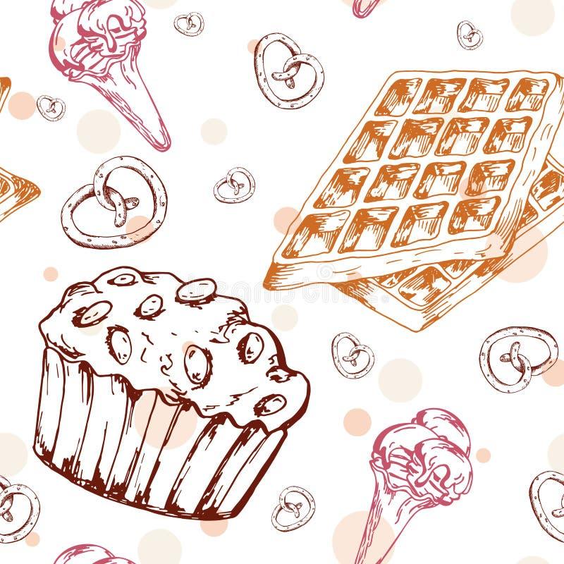 Картина десерта безшовная Сладостная предпосылка в стиле нарисованном рукой Обои с пирожным, waffles, кренделем Иллюстрация векто иллюстрация штока