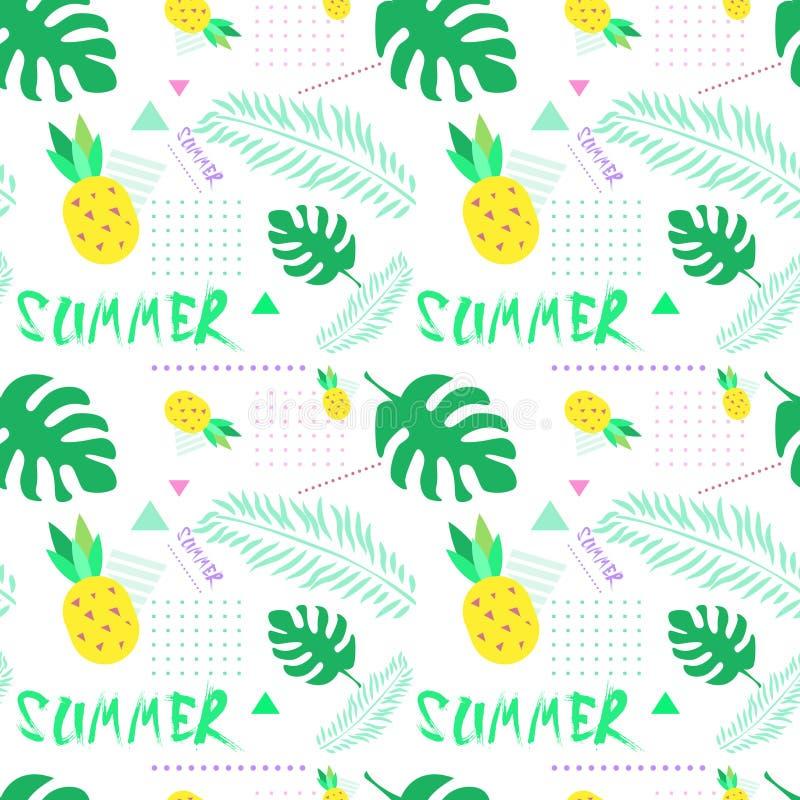 Картина лета безшовная с красочным тропическим стилем предпосылки орнамента бесплатная иллюстрация