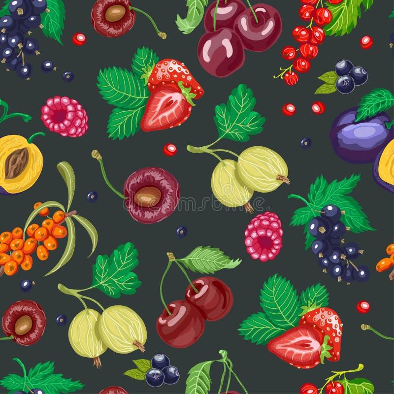 Картина лета безшовная с ягодами сада на темной предпосылке иллюстрация штока