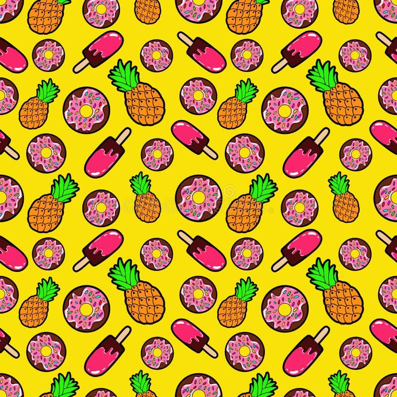 Картина еды помадок безшовная с Donuts, мороженым и ананасами бесплатная иллюстрация